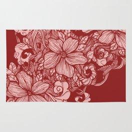 Floral Flow- burgundy Rug