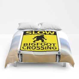 Bigfoot Crossing Sign Comforters