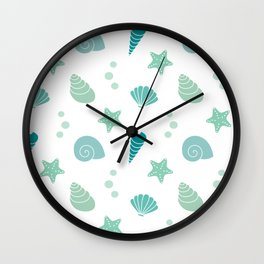 cute summer exotic pattern background illustration with seashells Wall Clock