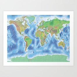 Physical world map with countries Art Print