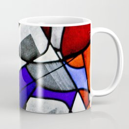 Red and Blue Montreal Stain Glass Window with Dog Photography Coffee Mug