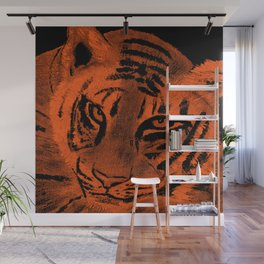Tiger with Orange Background Wall Mural