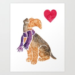 Watercolour Airedale Terrier Art Print