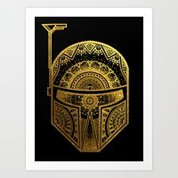 gold foil Art Prints featuring Mandala BobaFett - Gold Foil by Spectronium - Art by Pat McWain