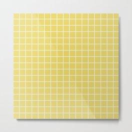 Hansa yellow - beije color - White Lines Grid Pattern Metal Print
