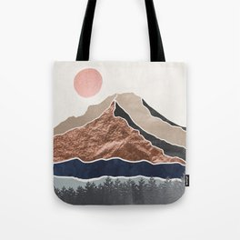 Mount Hood // Daylight Art Print Oregon Stratovolcano Rose Gold Silver Blue Cream Black Mountain Tote Bag