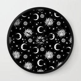 Linocut black and white sun moon and stars outer space zodiac astrology gifts Wall Clock