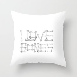 I Love Bones Funny X-Ray Tech Design Throw Pillow