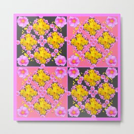 Pink-Grey Quarter Panel Floral Pattern Metal Print