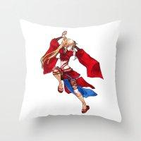 manga Throw Pillows featuring Manga Hero by SpaceMonolith