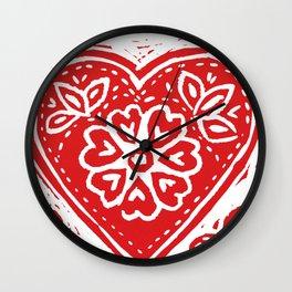Cariad Darling sweetheart lino print red Wall Clock