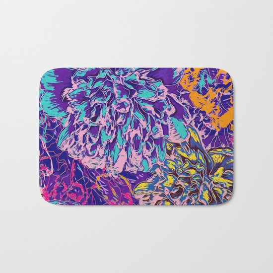 Very colorful abstract flowers Bath Mat