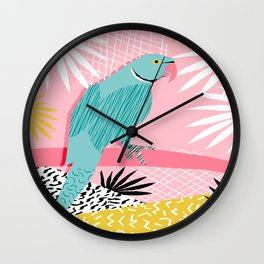 Doin' It - blue india ringneck parrot bird art wacka design animal nature retro throwback neon 1980s Wall Clock