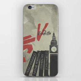 V fo r vendetta, minimal movie poster, Natalie Portman, Stephen Fry, film based on the graphic n iPhone Skin