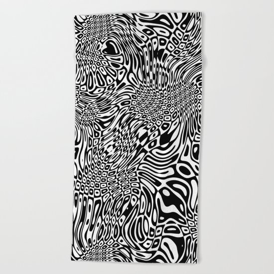 Black and white psychedelic optical illusion Beach Towel
