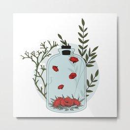 Alchemy Jar - Flowers Metal Print