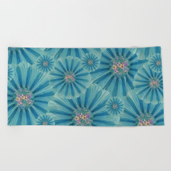 Fractal Flower Pattern Beach Towel