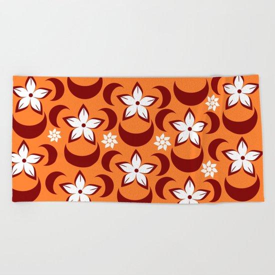 Orange floral fantasy Beach Towel
