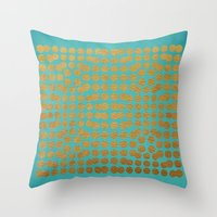 gold dots Throw Pillows featuring Gold Dots on Turquoise by Sandra Arduini