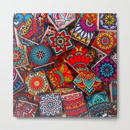 V1 Traditional Moroccan Colored Stones. Metal Print