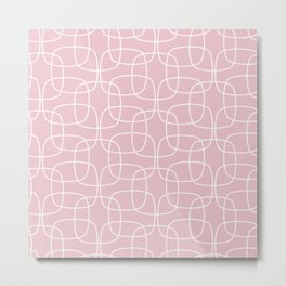Square Pattern Pink Metal Print