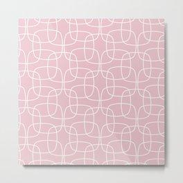 Square Pattern Pink Metal Print