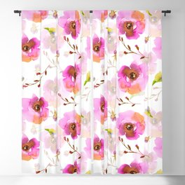 Pink Little Watercolor Spring Florals Blackout Curtain