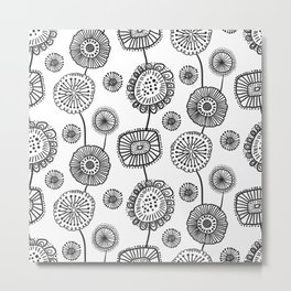 Doodle Floral in Black and White Metal Print