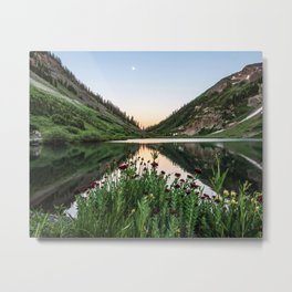 Natures Bouquet // Green and Red Floral Foreground Mountain and Moon Reflection Metal Print