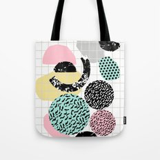 Amped - retro memphis throwback 80s style grid dots painting cut paper Tote Bag