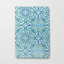Colored Crayon Floral Pattern in Teal & White Metal Print