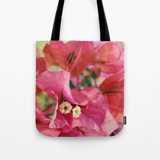 Vintage Bougainvillea Flowers in pink & green with textures Tote Bag
