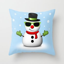 Cool Snowman with Shades and Adorable Smirk Throw Pillow