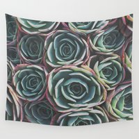 succulents Wall Tapestries featuring SUCCULENTS by The Pixel Gypsy