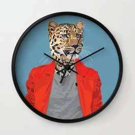Leopard wearing Costume National Wall Clock