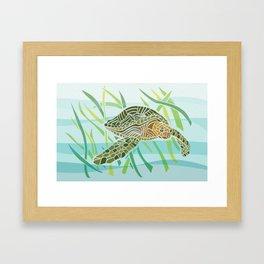 Sea Turtle at Home Framed Art Print