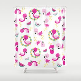 Tropical Pattern, Flamingos, Watermelons, Flowers Shower Curtain