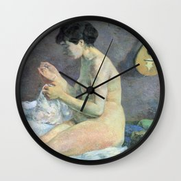 """Paul Gauguin - Study of a nude """"suzanne sewing"""" (1880) Wall Clock"""