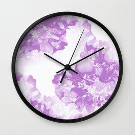 Beautiful Peony Flowers White Background Pastel Purple Version #decor #society6 #buyart Wall Clock