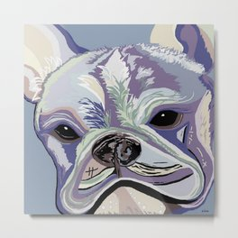 French Bulldog Denim Colors Metal Print