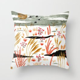 Night Snow illustration by Amanda Laurel Atkins Throw Pillow