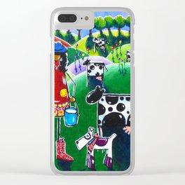 Moo Cow Farm Dairy Farmer Western Cowboy Boots Trees Cows Flowers Dog Milk Rancher Milking Bright Clear iPhone Case