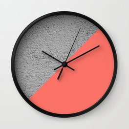 Geometrical Color Block Diagonal Concrete vs coral Wall Clock