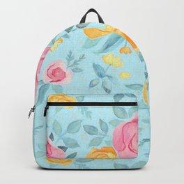 Chalk Pastel Pink & Orange Roses on Sky Blue Backpack