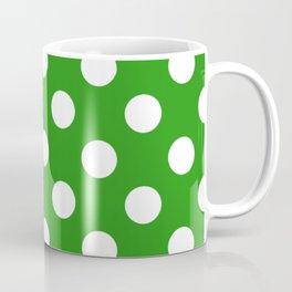 Slimy green - green - White Polka Dots - Pois Pattern Coffee Mug