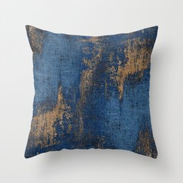 NAVY BLUE AND GOLD PATTERN Throw Pillow