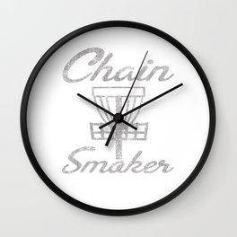Chain Smoker Disc Golf Funny Distressed Wall Clock