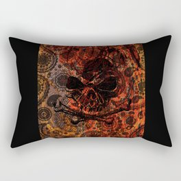 Angry Skull Emerging from Grunge Paisley and Fire Rectangular Pillow