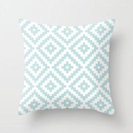 Aztec Block Symbol Ptn Blue & White I Throw Pillow