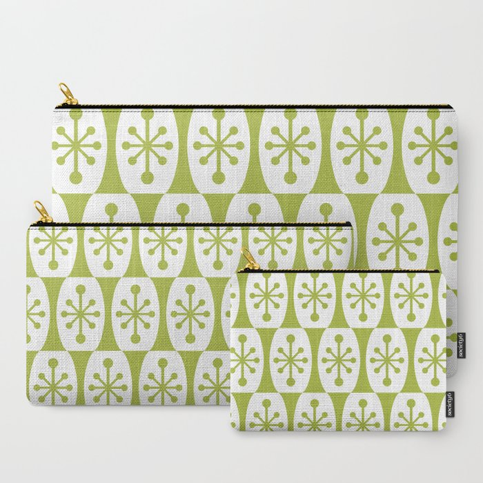 Mid Century Modern Atomic Fusion Pattern Chartreuse Carry-All Pouch